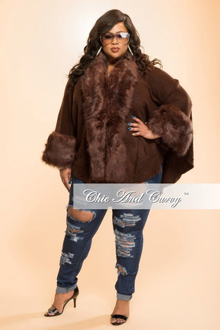 New Plus Size Coat with Faux Fur Cuff and Neck Trim in  Coffee Brown