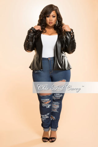 Final Sale Plus Size Liquid Jacket with Line Cut Sleeves in  Black
