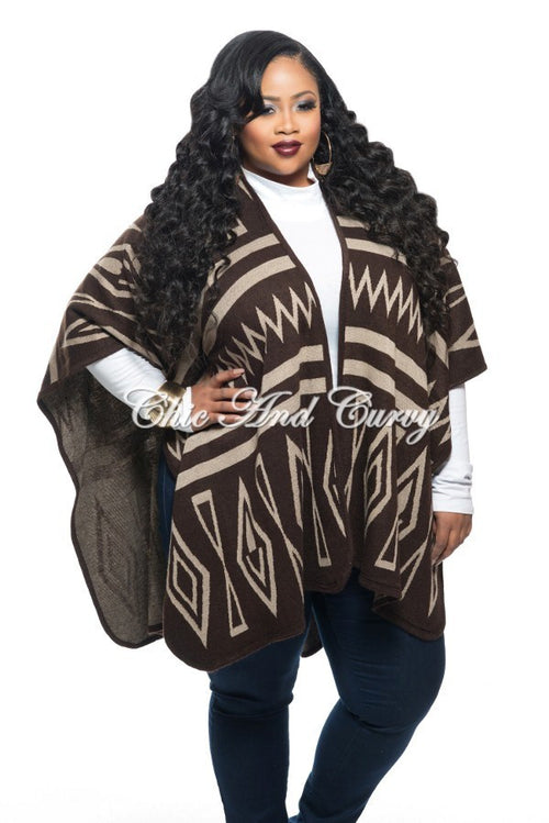 Final Sale Plus Size Poncho in Brown and Beige Multi Print Design One Size