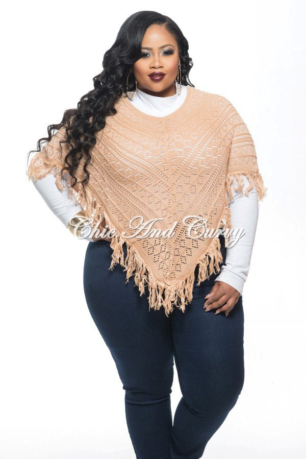 510aacd9a Final Sale Plus Size Poncho w/ V Fringe Bottom in Salmon One Size – Chic  And Curvy