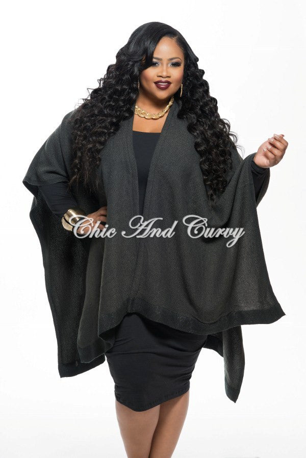 new plus size poncho in charcoal one size – chic and curvy