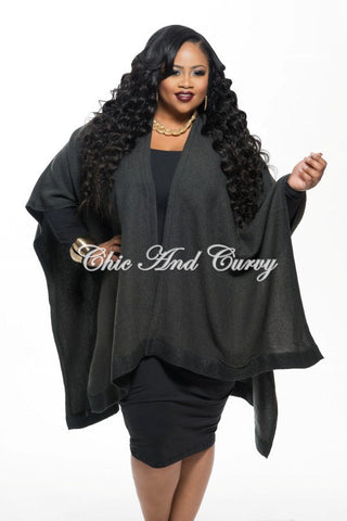 New Plus Size Poncho in Charcoal One SIze