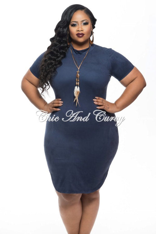 Final Sale Plus Size BodyCon with Short Sleeves and Side Split in Blue 1x