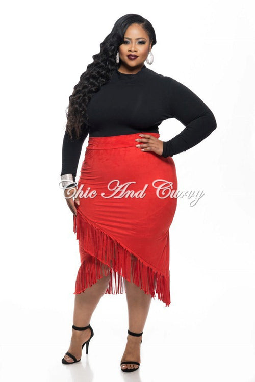 Final Sale  Plus Size Skirt Faux Suede with Overlapping V-Split Fringe Bottom in Red