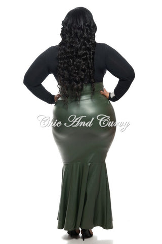 New Plus Size Liquid Mermaid Skirt in Olive Green