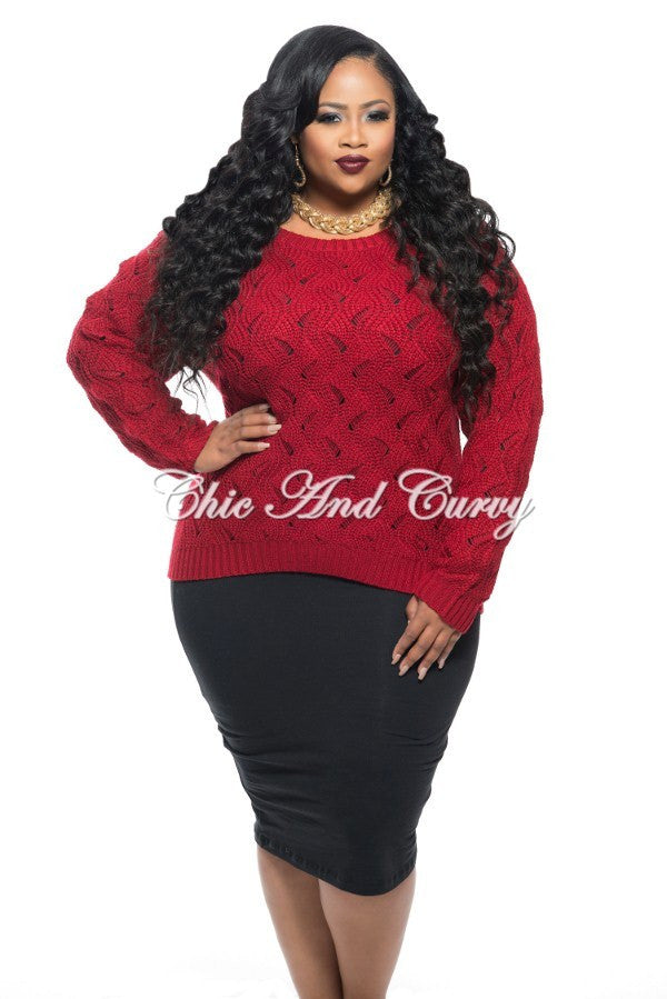 New Plus Size Long Sleeve Sweater in Red