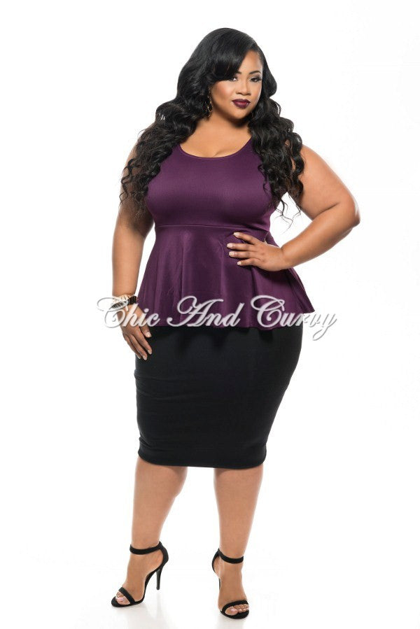 New Plus Size Top Tank Sleeve with Peplum Flair Bottom in Plum