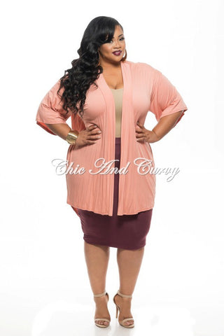 Final Sale Plus Size Cardigan with Tail in Peach