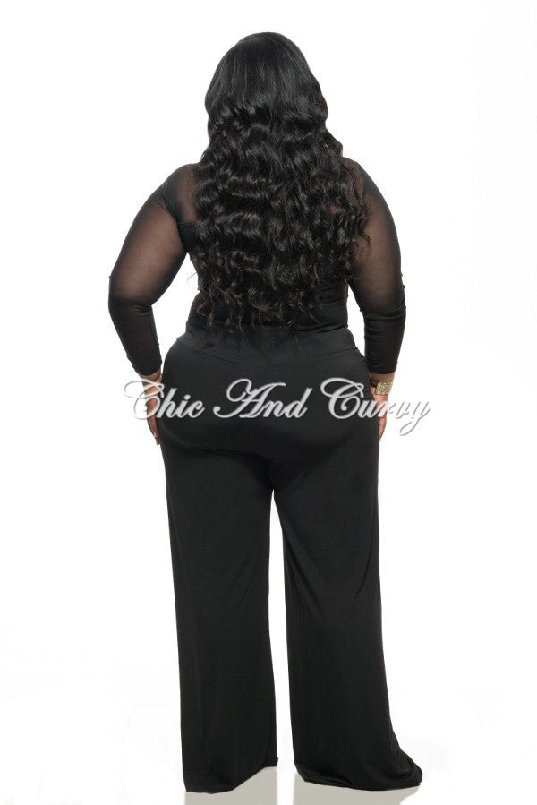 New Plus Size Top with V Neck, Zipper Front, and Mesh Sleeves in Black