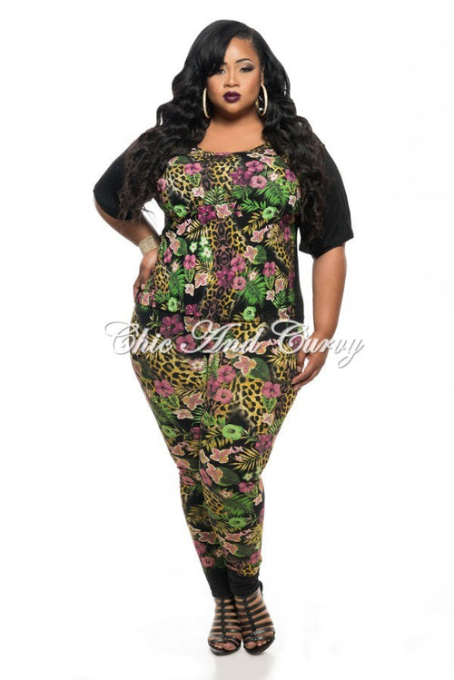 Final Sale Plus Size 2-Piece Top and Pant Set in Pink/Green Floral and Leopard Print