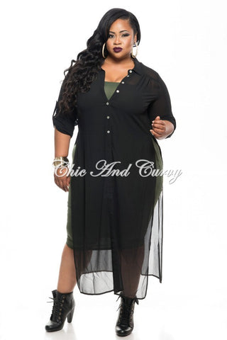 New Plus Size Long Sheer Kimono with Button Front in Black