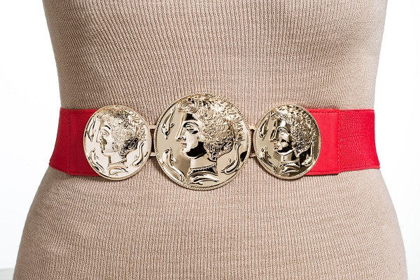 Final Sale Plus Size Elastic 3 Gold Coin Belt in Red