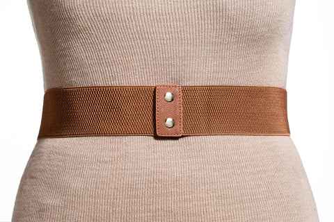Final Sale Plus Size Elastic Band Belt with Gold Link Chain in Tan