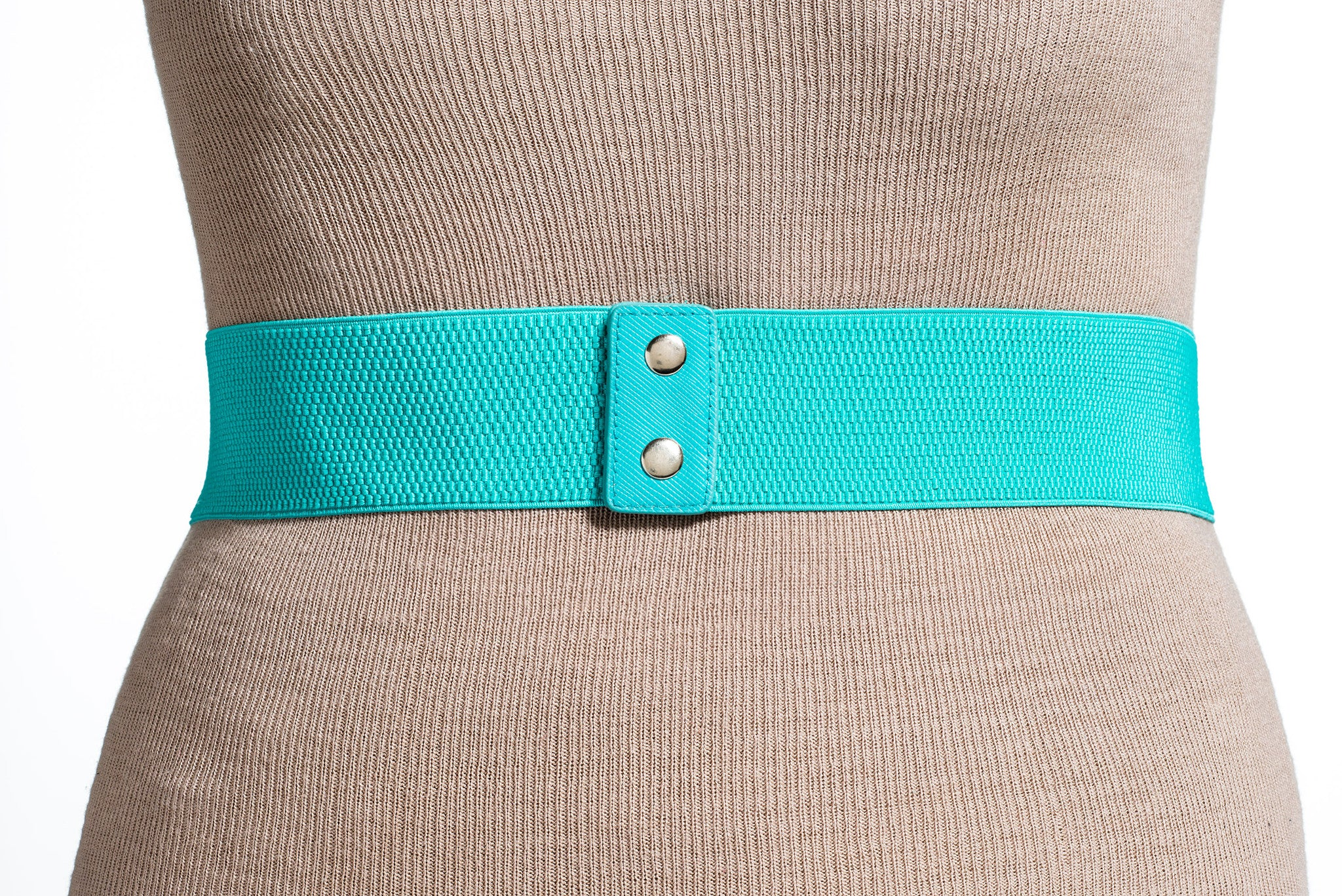 Final Sale Plus Size Elastic Band Belt with Gold Link Chain / Turquoise