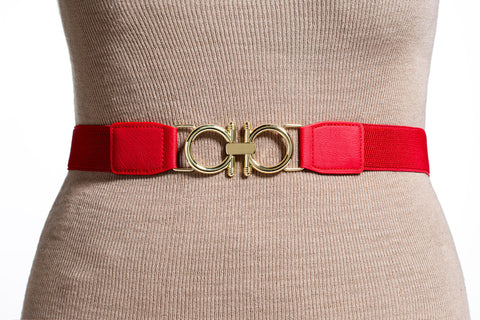 Final Sale Plus Size Elastic Band / Gold Two Ring Lock Belt in Red