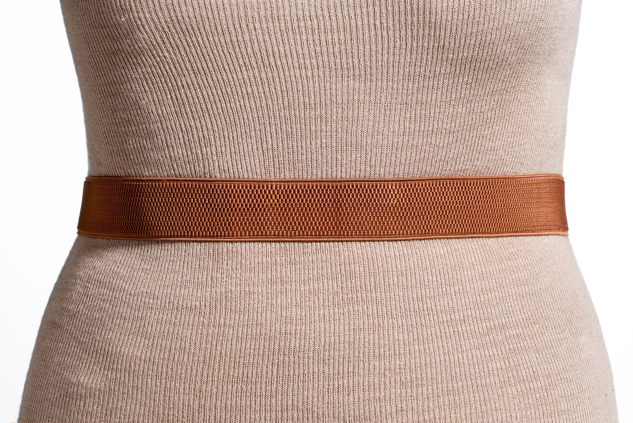 Final Sale Plus Size Belt Elastic Cafe Brown Band and Gold Buckle