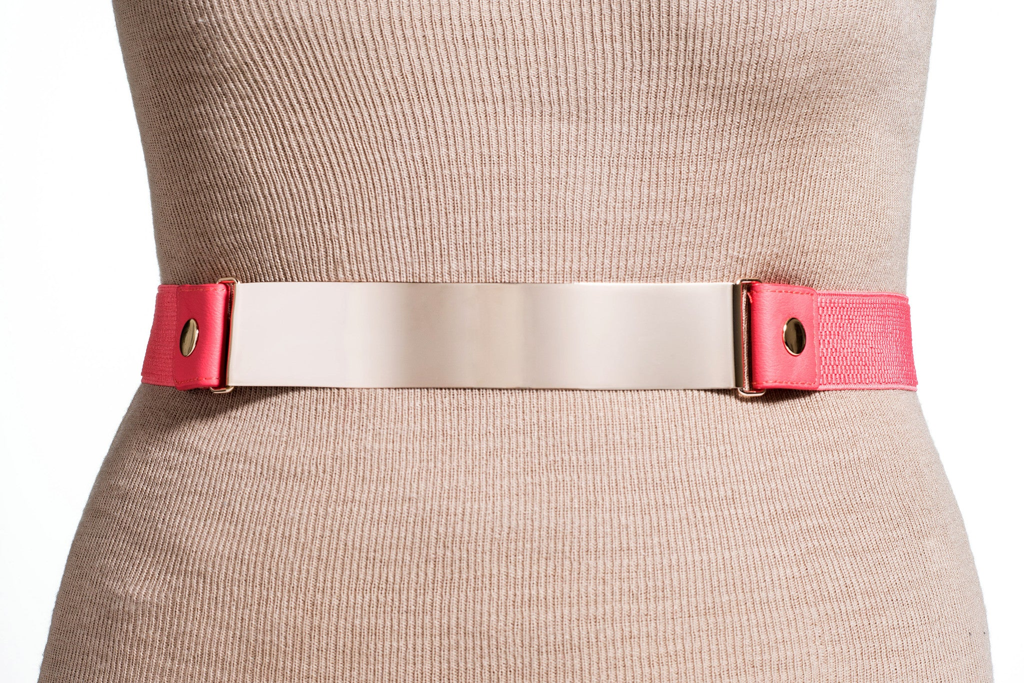 Final Sale Plus Size Belt Elastic Coral Band and Gold Buckle