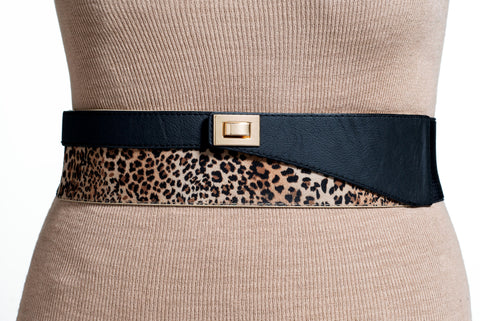 Final Sale Plus Size Elastic Band Belt in Black and Animal Print
