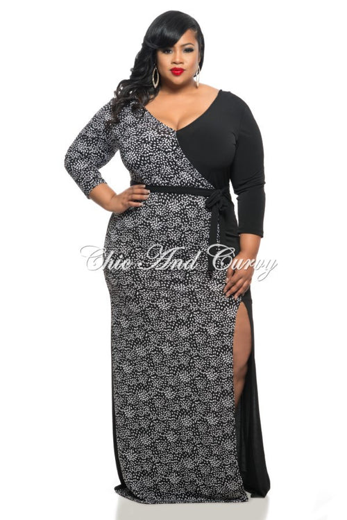Final Sale Plus Size Long Maxi Dress with Slits and Belt Half Black Half Polka Dots