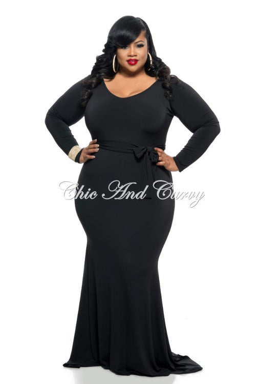 Final Sale  Plus Size Long Dress with Tie in Black