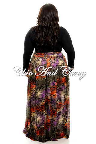 Final Sale Plus Size Chiffon Skirt in Brown, Rust, Purple and Animal Print