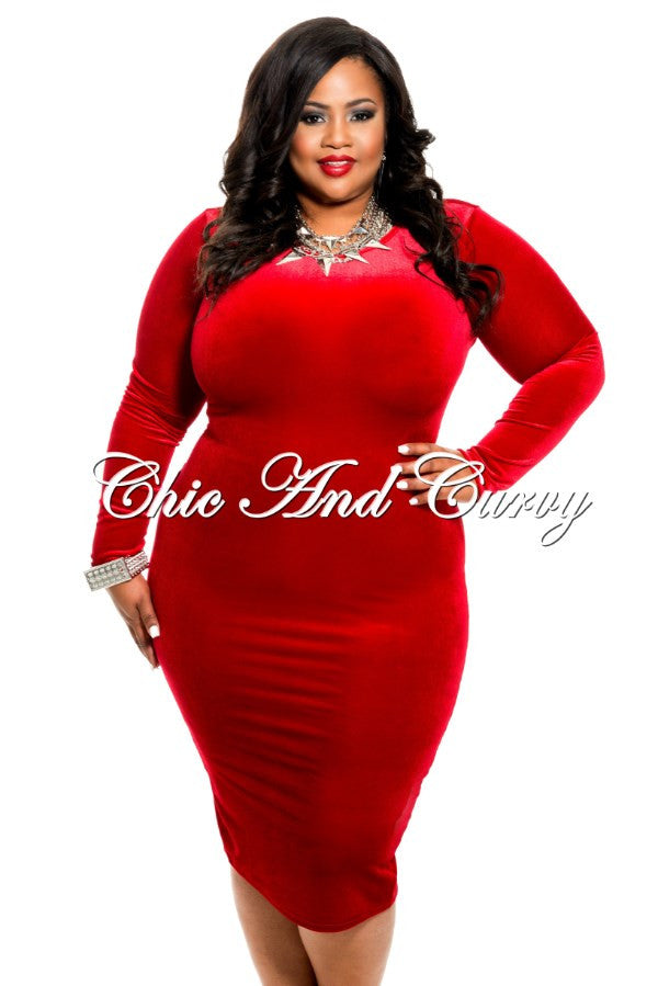 new plus size velvet bodycon in red – chic and curvy