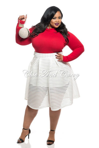 Final Sale Plus Size Skirt with Side Zipper in Sheer Stripe Design - Off White