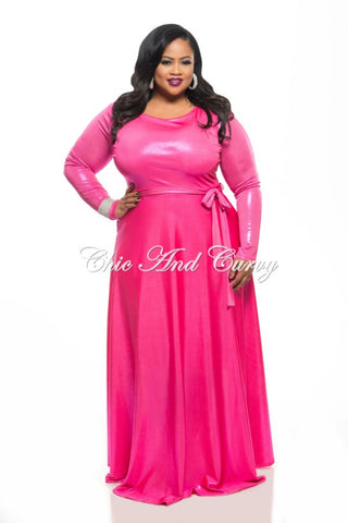 New Plus Size Long Sleeve Dress w/ Tie in Shiny Hot Pink