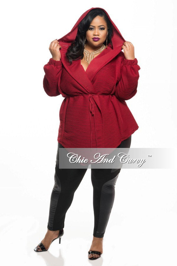 New Plus Size Hooded Textured Jacket in Burgundy