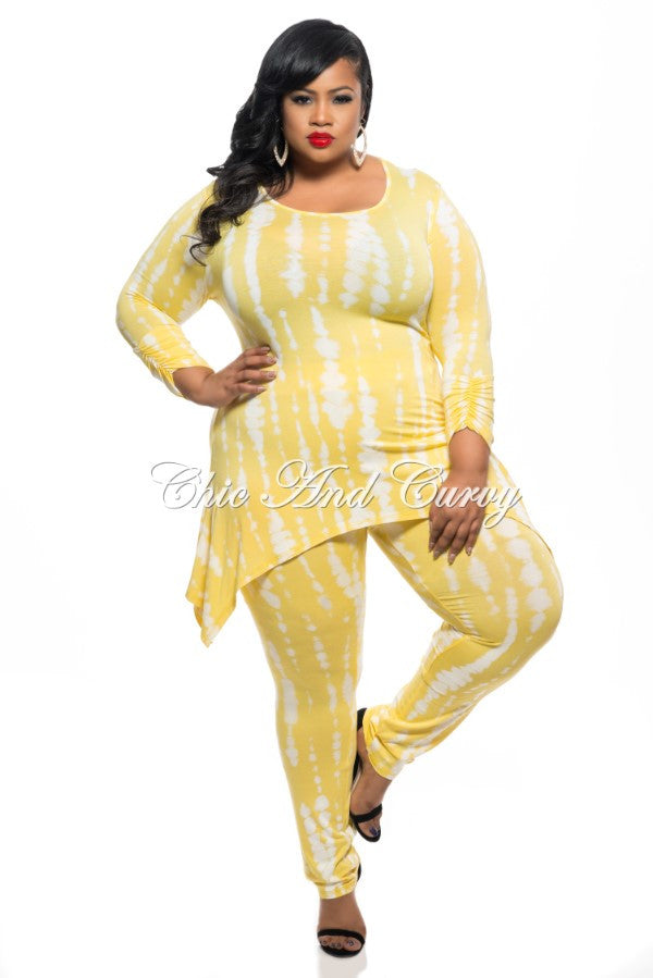 Final Plus Size 2-Piece Set Top and Pants in Yellow and White Tie Dye Print
