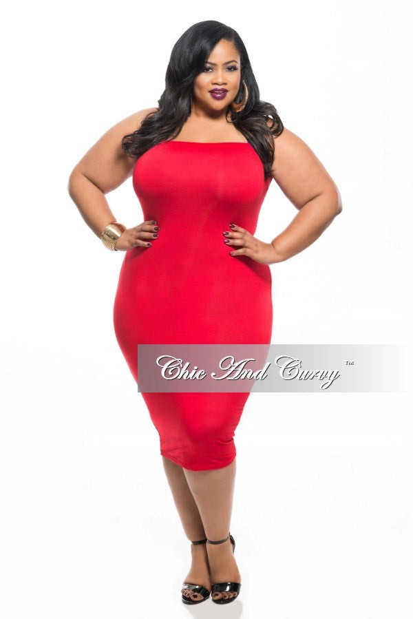 Final Sale Plus Size BodyCon Lightweight Tube Dress/Pencil Midi Skirt in Red