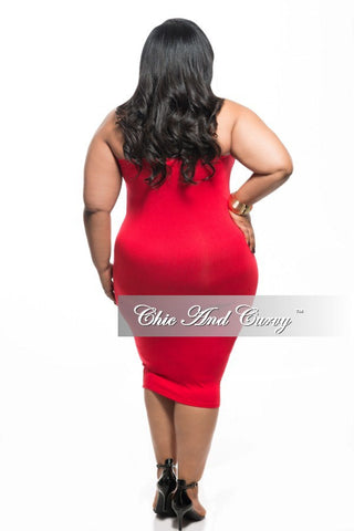 Final Sale Plus Size BodyCon Lightweight Tube Dress / Pencil Midi Skirt in Red