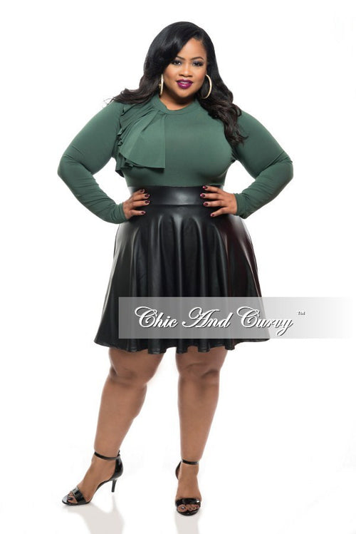 50% Off Sale - Final Sale Plus Size Skater Dress with Side Ruffle Top, Back Cutout, and Liquid Bottom - Olive Green/Black