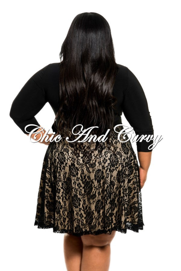New Plus Size Skater Dress with Wrap Top and Lace Bottom in Black