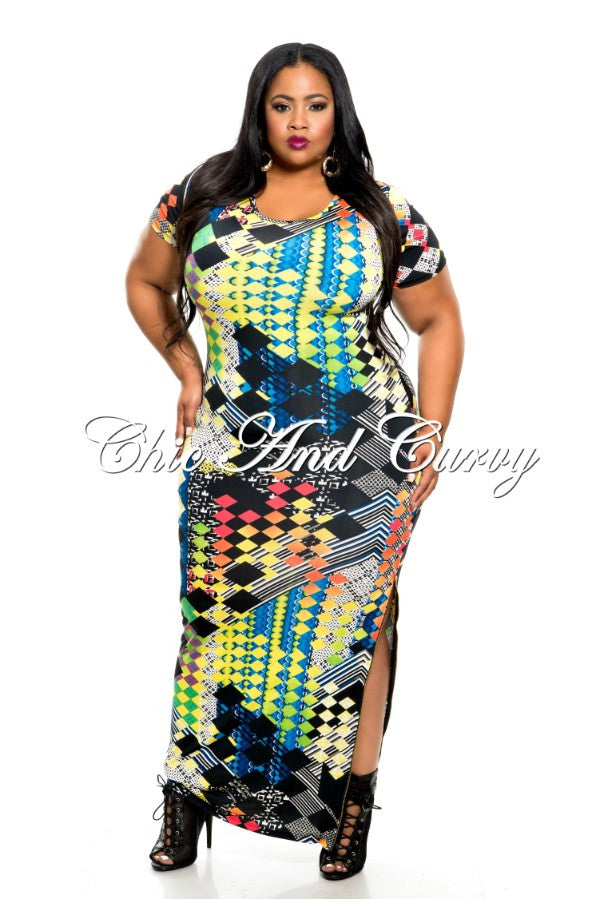 New Plus Size Short Sleeve Dress with Side Slit in Multi Color and Multi Print