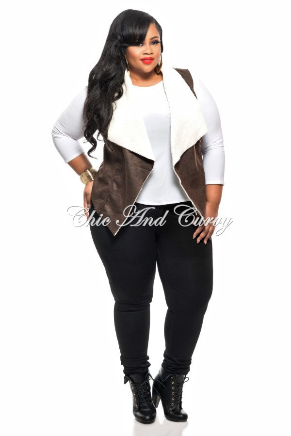 New Plus Size Vest with Faux Fur Lining in Brown and White