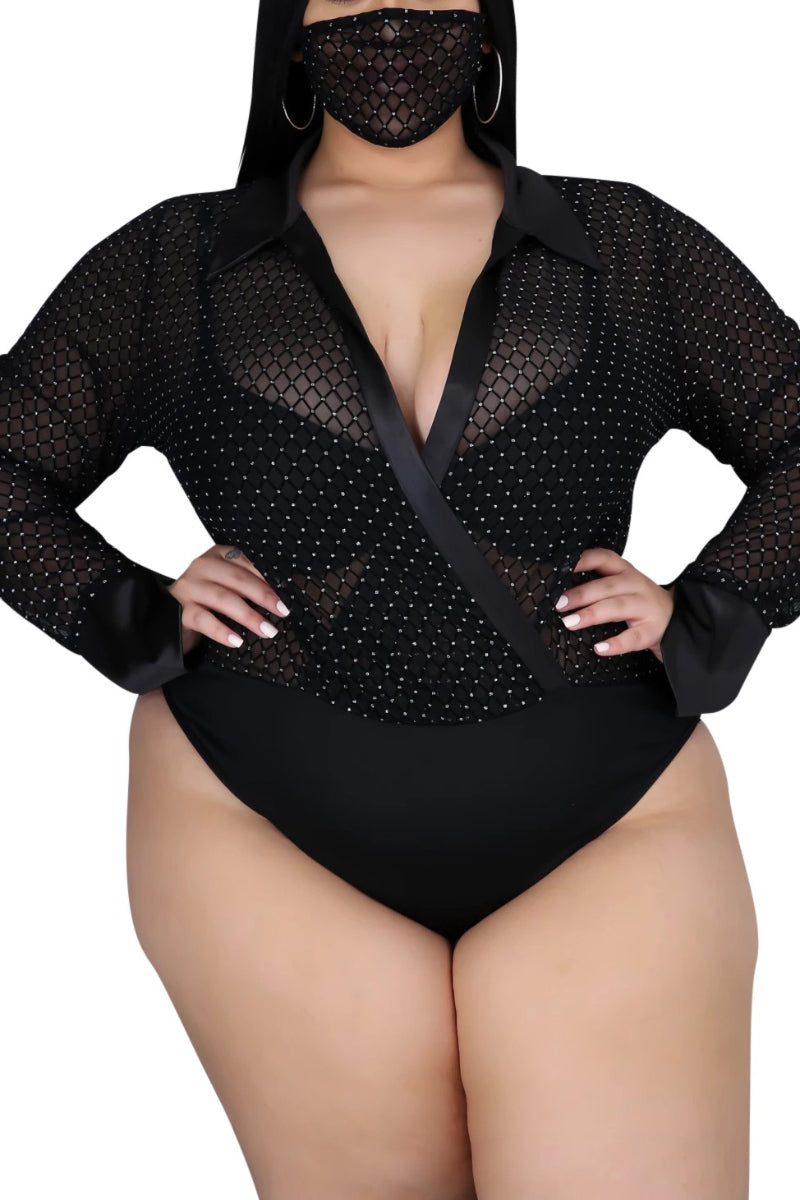 Final Sale Plus Size 2-Piece Sheer Mesh Pant Set in Black Diamond Print