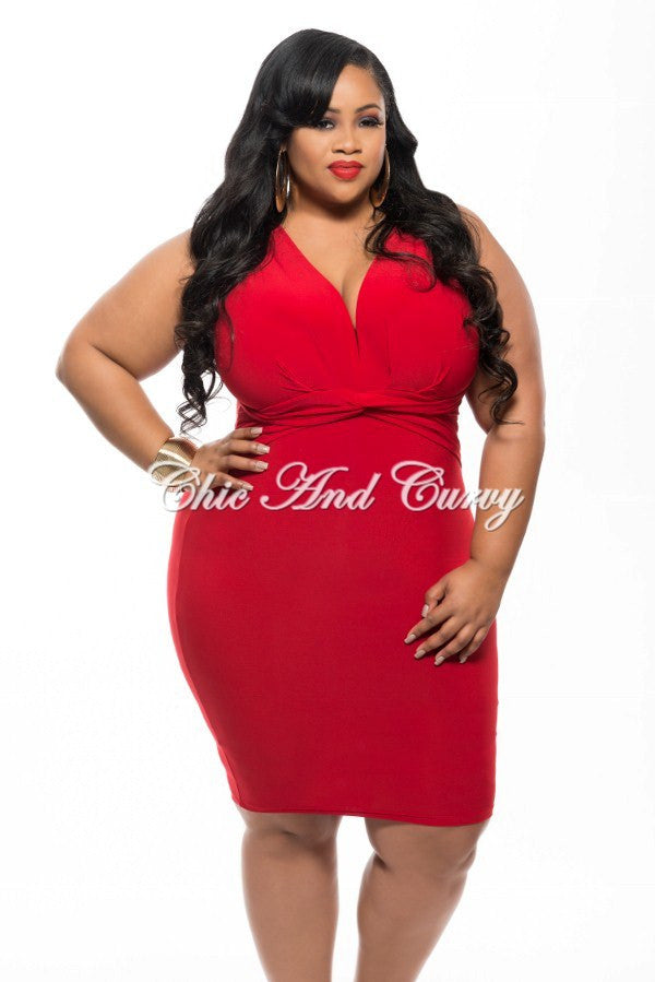 Final Sale Size Sleeveless BodyCon Dress with Knotted Front in Red