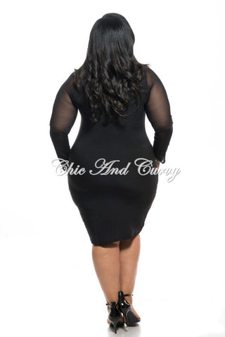 Final Sale Plus Size BodyCon with Sequin Design Front in Black