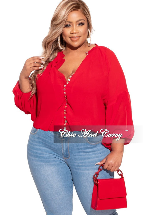 Final Sale Plus Size Cropped Button Up Balloon Top in Red