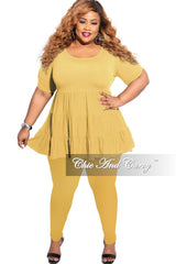 New Plus Size 2-Piece Short Sleeve 3-Tiered Baby Doll Top and Leggings Set in Mustard
