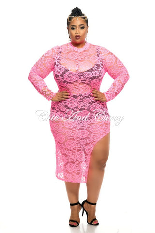 Final Sale Plus Size BodyCon All Lace CoverUp with Thigh Cutout Design in Neon Pink