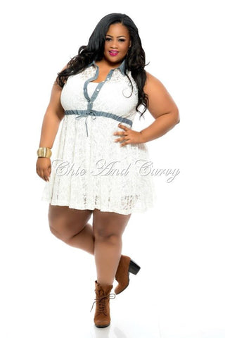 Final Sale Plus Size Denim and Ivory Lace Dress with Button Front and Collar