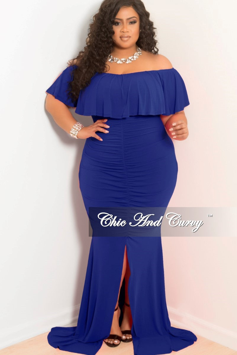 New Plus Size Ruched Bodycon Long Dress With Off The Shoulder Ruffle