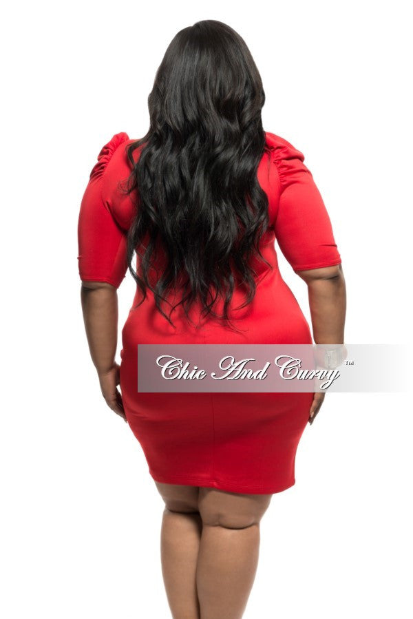 New Plus Size Half Sleeve BodyCon Dress w/ Neck Tie and Puffed Shoulders in Red