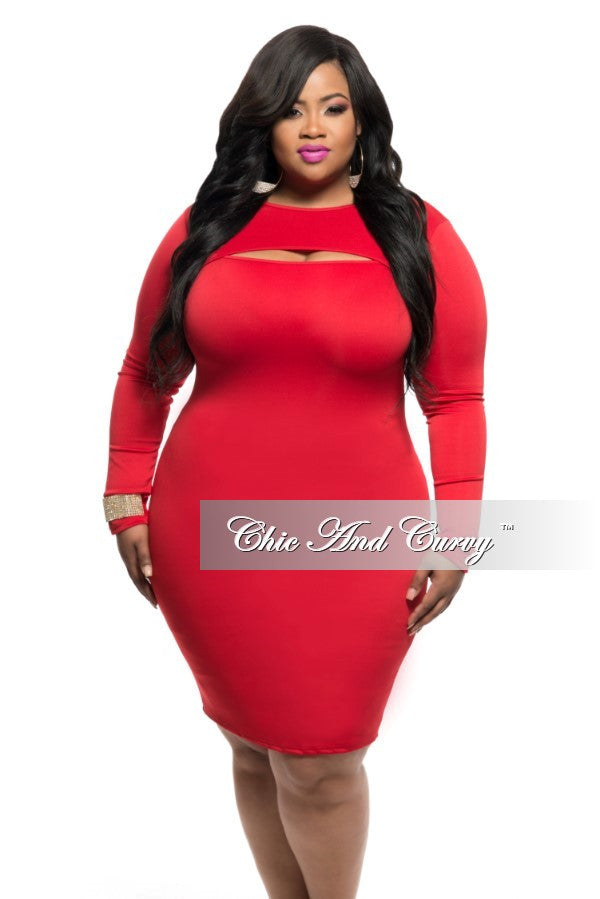 Final Sale Plus Size Bodycon Dress With Split Peek A Boo In Red
