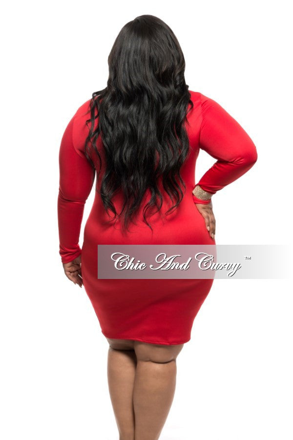 New Plus Size BodyCon Dress with Split Peek-A-Boo in Red