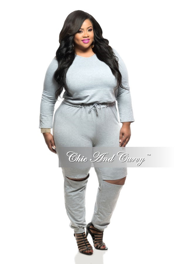 New Plus Size Jumpsuit with Tie and Knee-Split in Grey