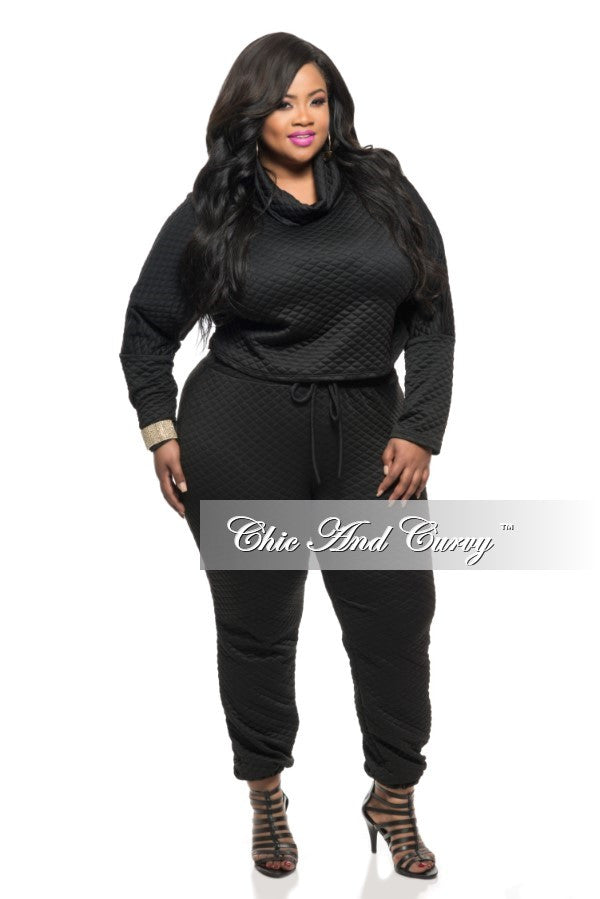 New Plus Size 2-Piece Jogger Set with Tie in Black