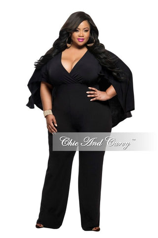 New Plus Size Jumpsuit with Attached Flowing Cape in Black